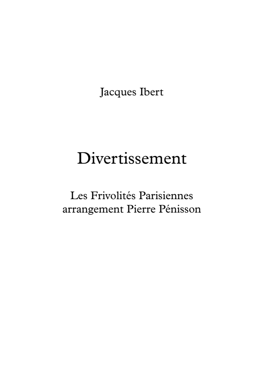 Divertissement, Jacques Ibert