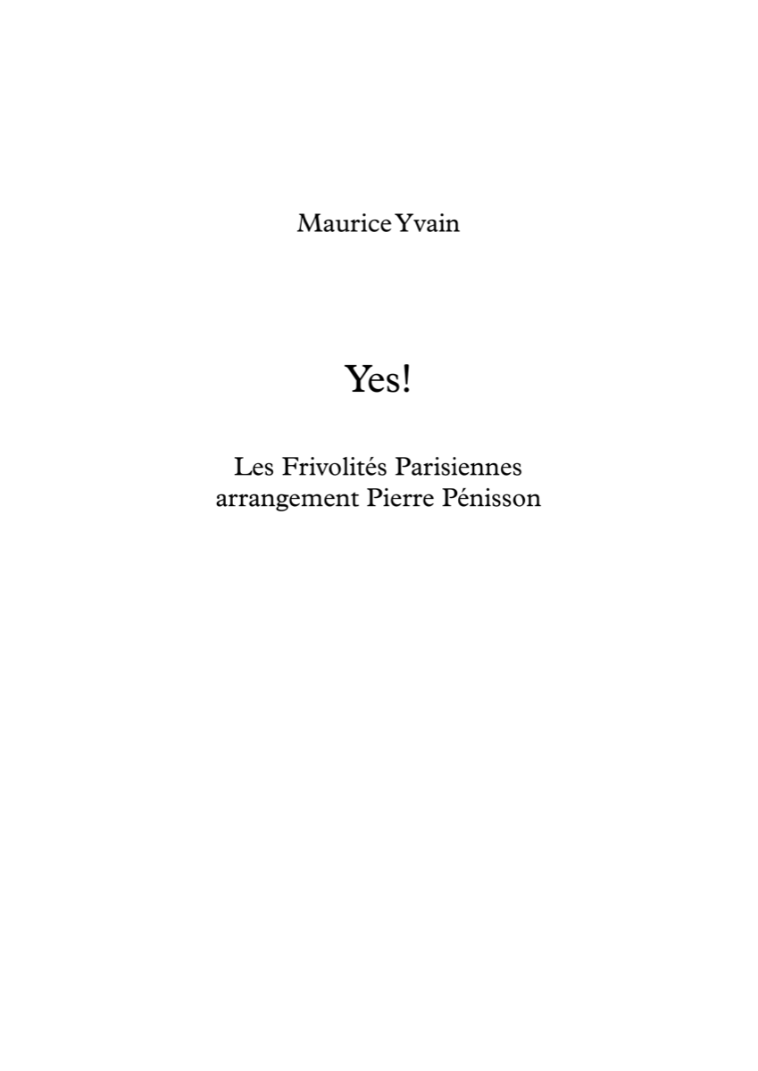 Yes!, Maurice Yvain